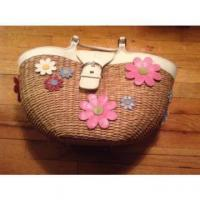 China NWOT 100% Authentic Limited Edition Coach Straw Flower Basket Bag - RARE on sale